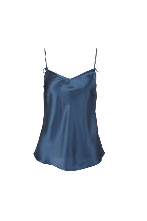 Paige Denim Cicely Slate Blue Silk Cami
