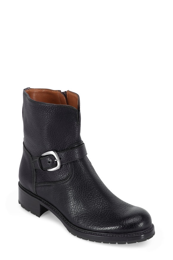 Gravati Black Grained Leather Buckle Short Boot
