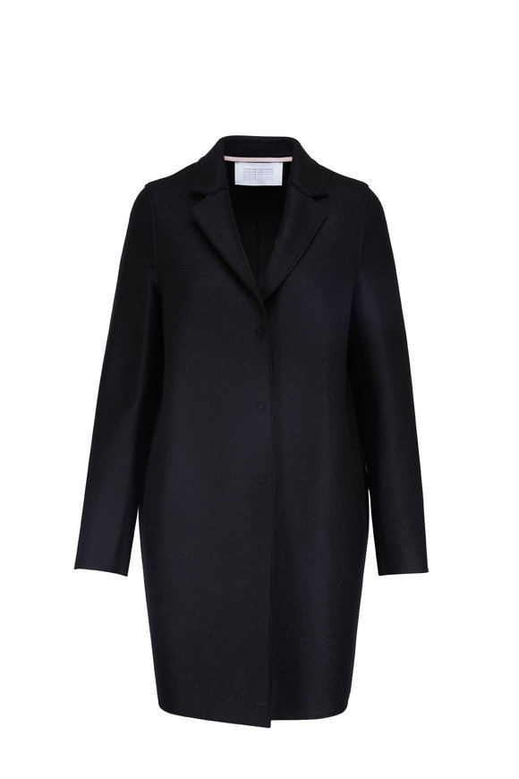 Harris Wharf Coccoon Black Pressed Wool Coat