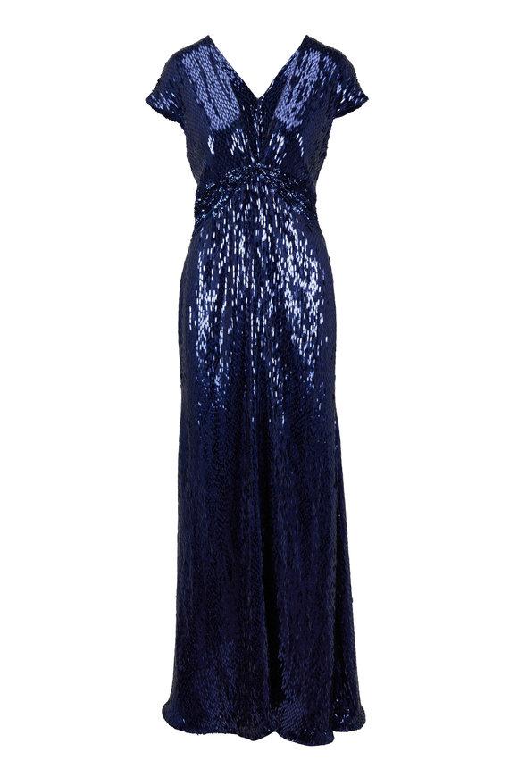 Pamella Roland Sapphire Silk Capsleeve Beaded Gown
