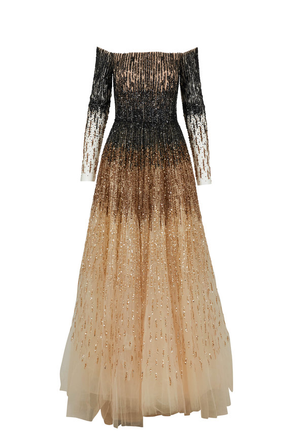 Pamella Roland Black & Gold Ombre Sequin Long Sleeve Gown