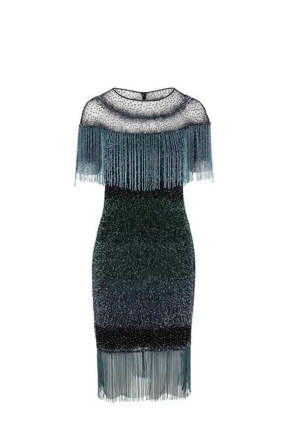 Pamella Roland Emerald Signature Sequin & Fringed Cocktail Dress