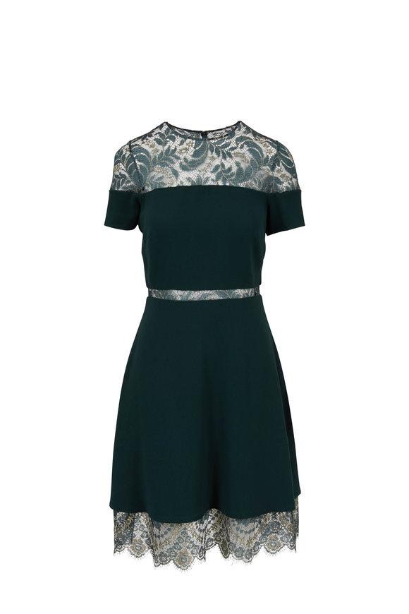 Pamella Roland Emerald Lace Inset Short Sleeve Dress