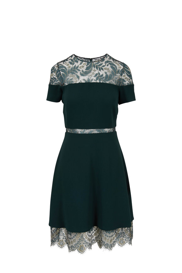 Pamella Roland Emerald Lace Inset Short Sleeve Dress
