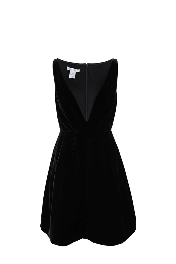 Oscar de la Renta Black Velvet Deep V-Neck Dress