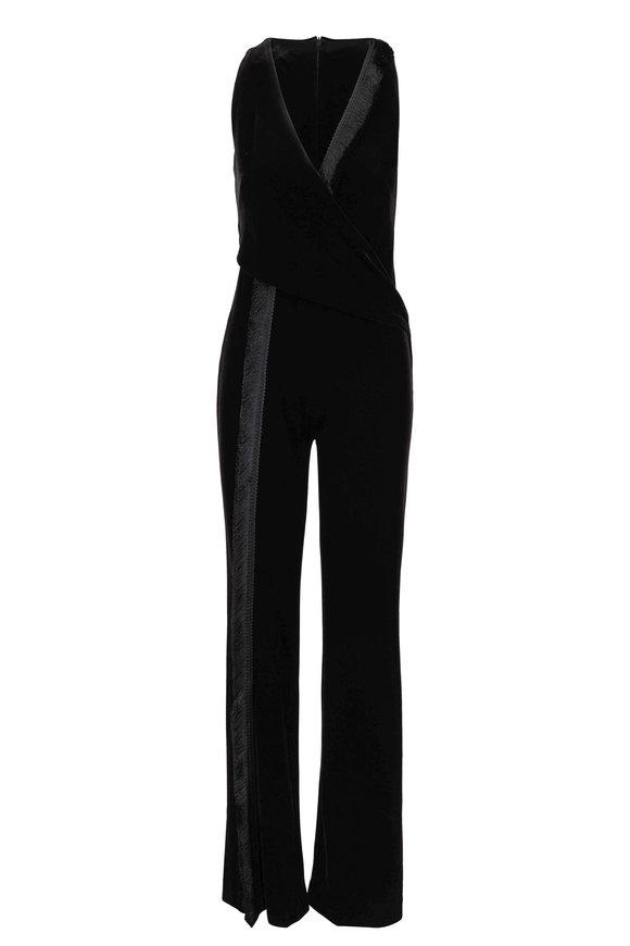 Galvan Brushstroke Black Velvet Fringed Jumpsuit