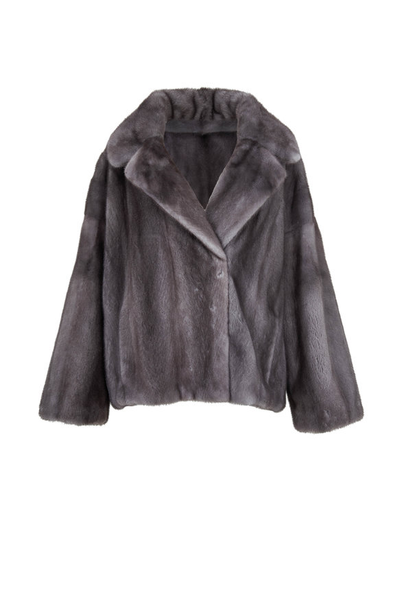 Oscar de la Renta Furs Mink Iris Notch Collar Jacket
