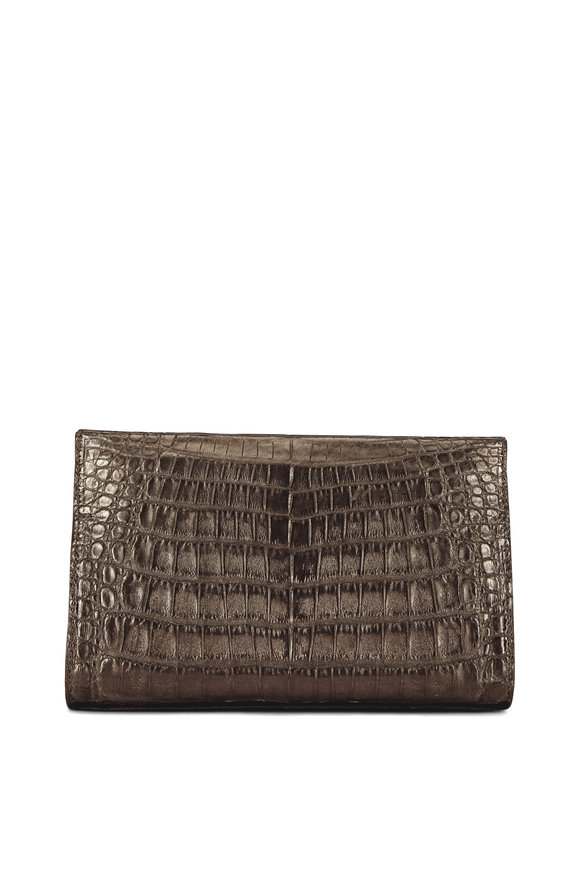 Nancy Gonzalez Bronze Crocodile Pyramid Clutch