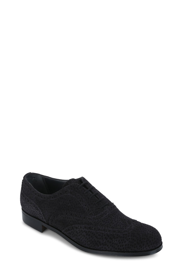 Gravati Charcoal Gray Suede Wingtip Oxford Shoe