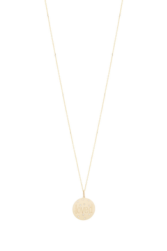 Genevieve Lau Yellow Gold Scattered Diamonds Loved Necklace