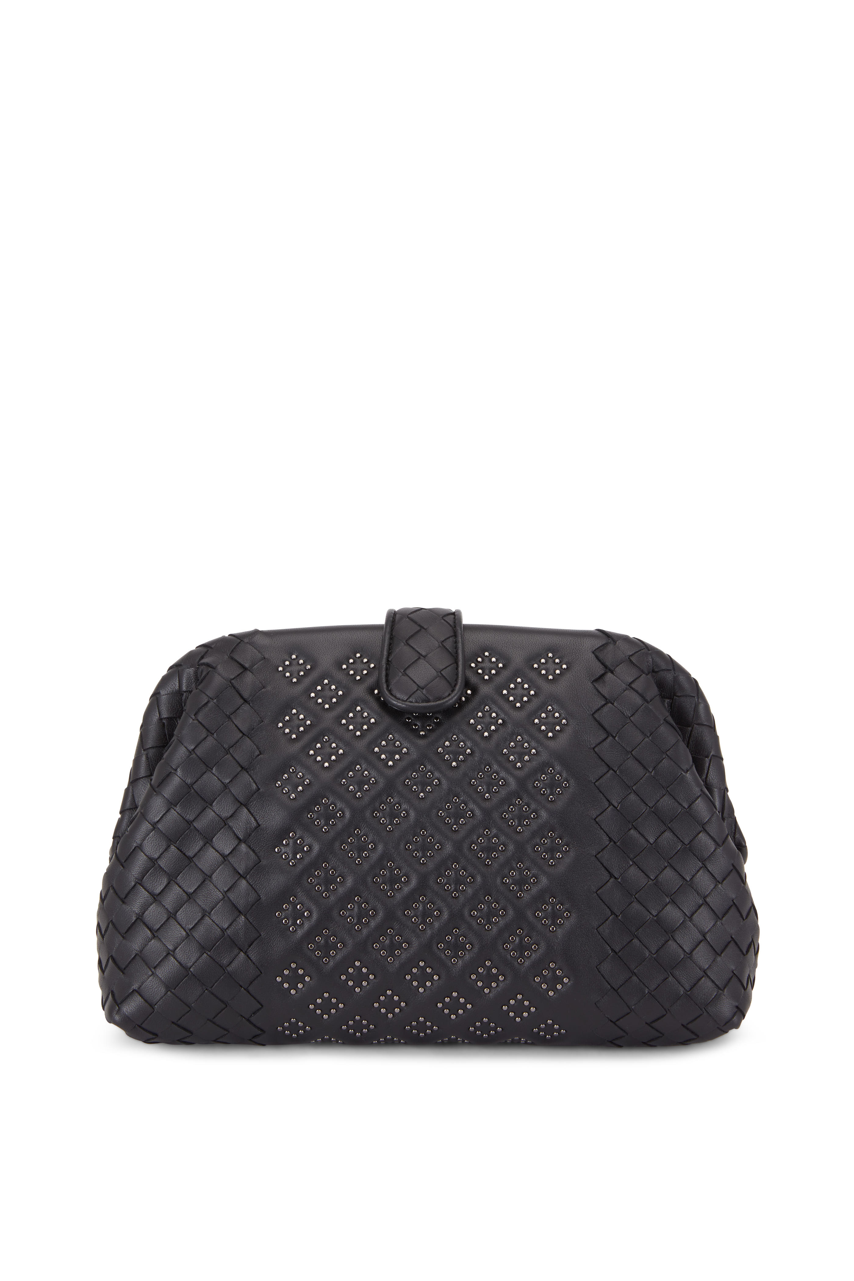 Bottega Veneta - Black Intrecciato Micro Studded Medium Clutch ... 03c8b12d77a9a
