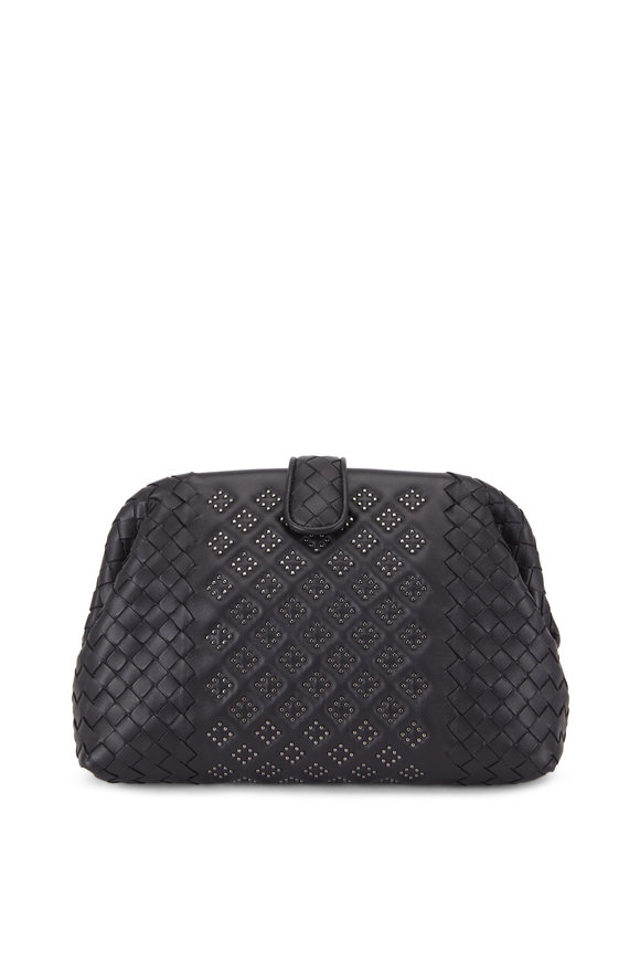 Bottega Veneta Black Intrecciato Micro Studded Medium Clutch