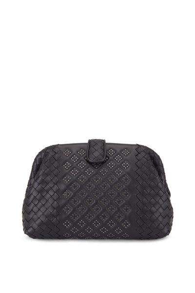 Bottega Veneta - Black Intrecciato Micro Studded Medium Clutch