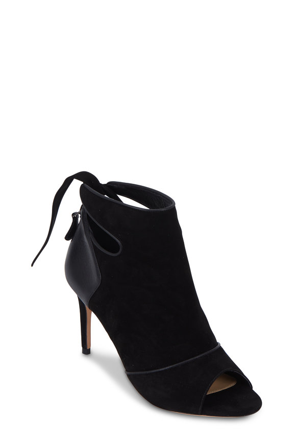 Alexandre Birman Tory Black Suede & Leather Bootie, 75mm