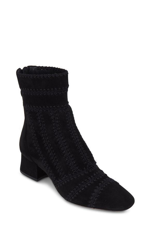 Alexandre Birman Beatrice Black Suede Crochet Short Boot, 40mm