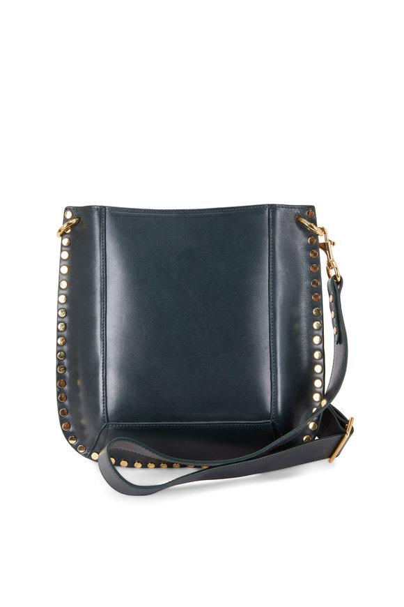 Isabel Marant Oskan Dark Green Leather Studded Hobo Bag