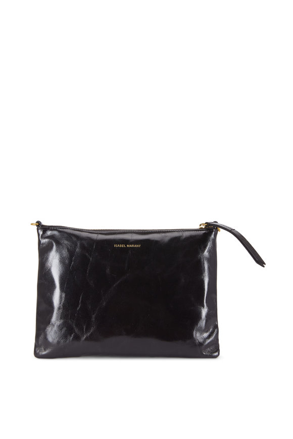 Isabel Marant Nessah Black Glossy Leather Pouch Crossbody