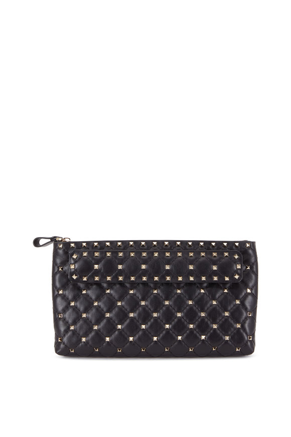 Valentino Garavani Rockstud Black Quilted Leather Clutch
