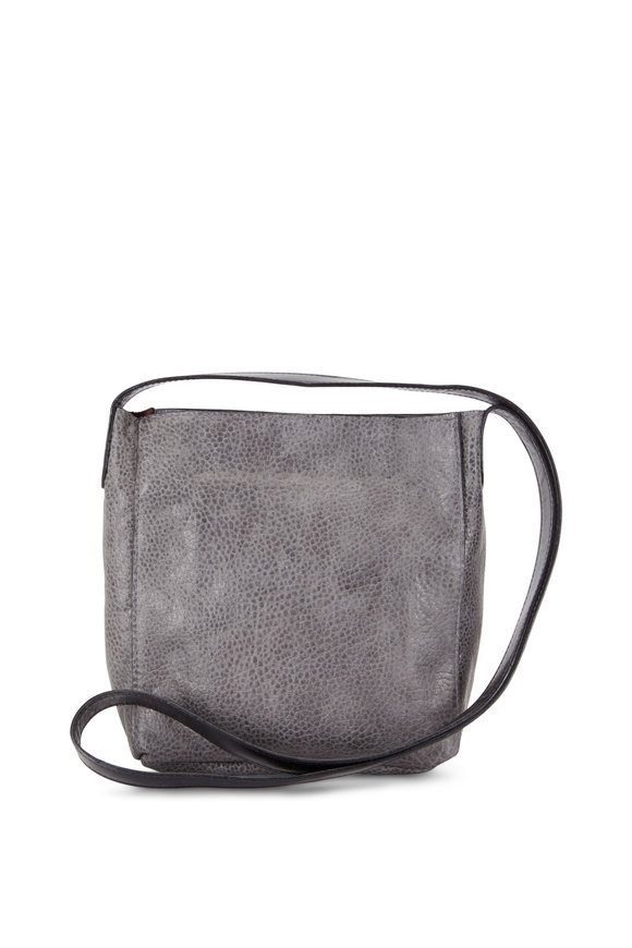 B May Bags Ovino Gray Pebbled Leather Small Messenger Bag