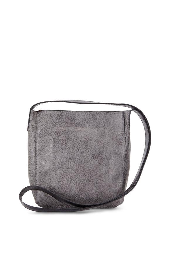 B May Bags Ovino Gray Pebbled Leather Small Messenger Bag