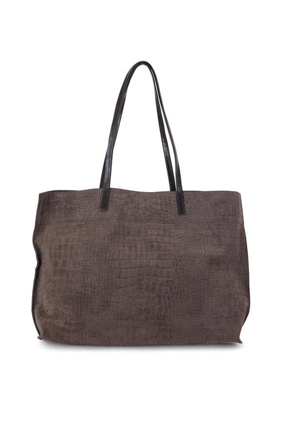 B May Bags Flannel Gray Croc Embossed Suede Large Shopper