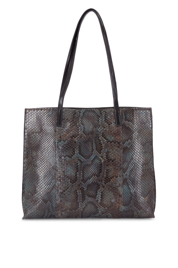 B May Bags Dapple Gray Python Medium Shopper Tote