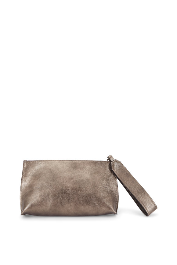 B May Bags Pewter Metallic Leather Wristlet