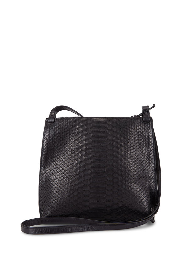 B May Bags Strappy Black Python Pouch Crossbody