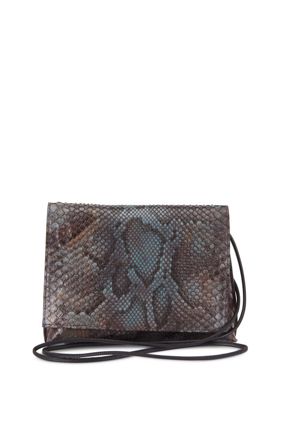 B May Bags Dapple Gray Python Foldover Crossbody