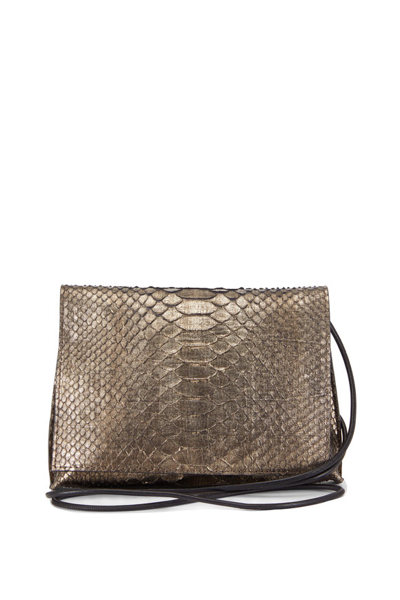 B May Bags Dapple Metallic Copper Python Foldover Crossbody