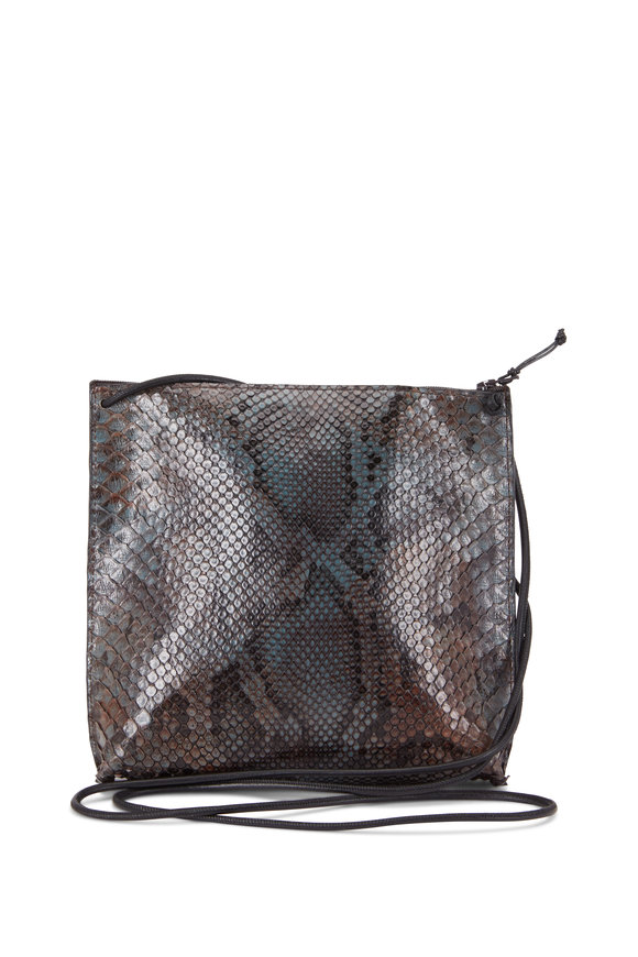 B May Bags Gray Python Pouch Crossbody