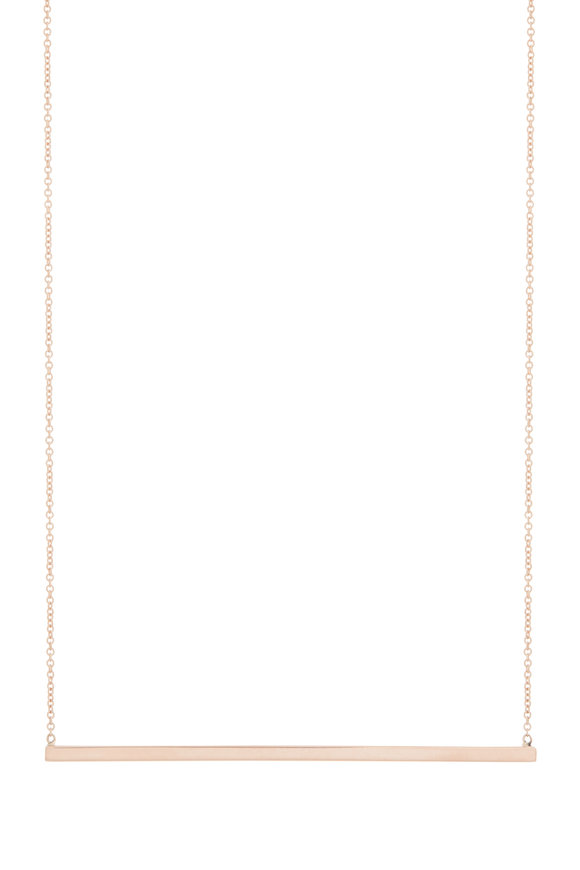 Genevieve Lau 14K Rose Gold Bar Pendant Necklace
