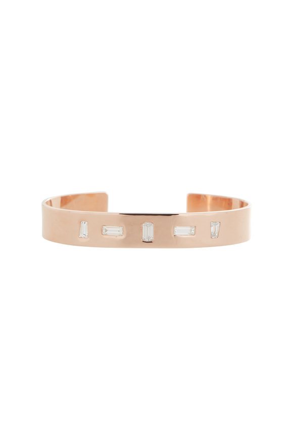 Genevieve Lau 14K Rose Gold White Diamond Baguette Cuff