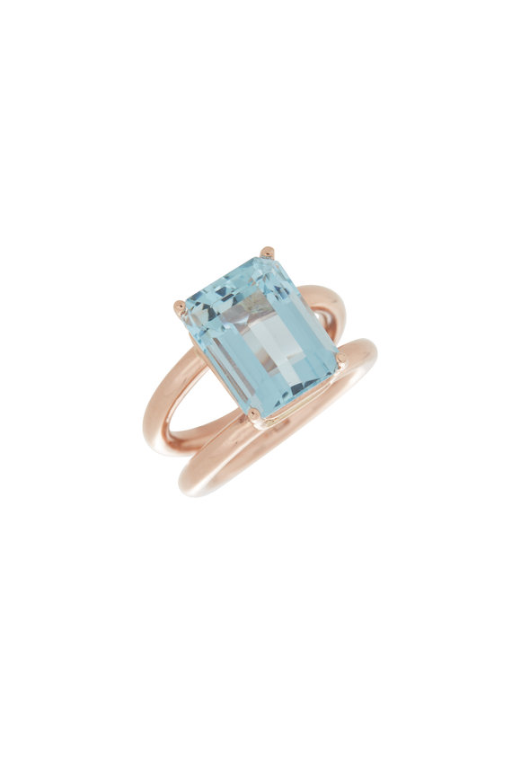 Genevieve Lau 14K Rose Gold  Aquamarine Cocktail Ring