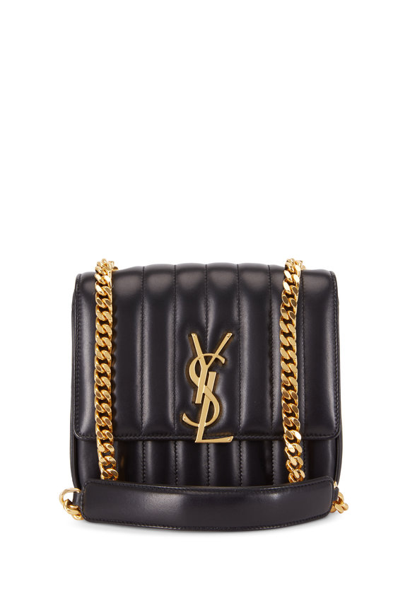 Saint Laurent Vicky Monogram Black Leather Chain Shoulder Bag