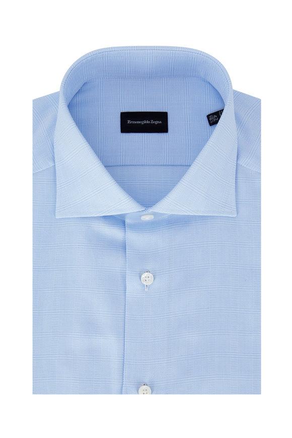 Ermenegildo Zegna Light Blue Herringbone Plaid Dress Shirt