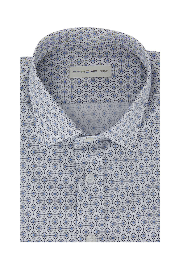 Etro Light Blue Patterned Sport Shirt