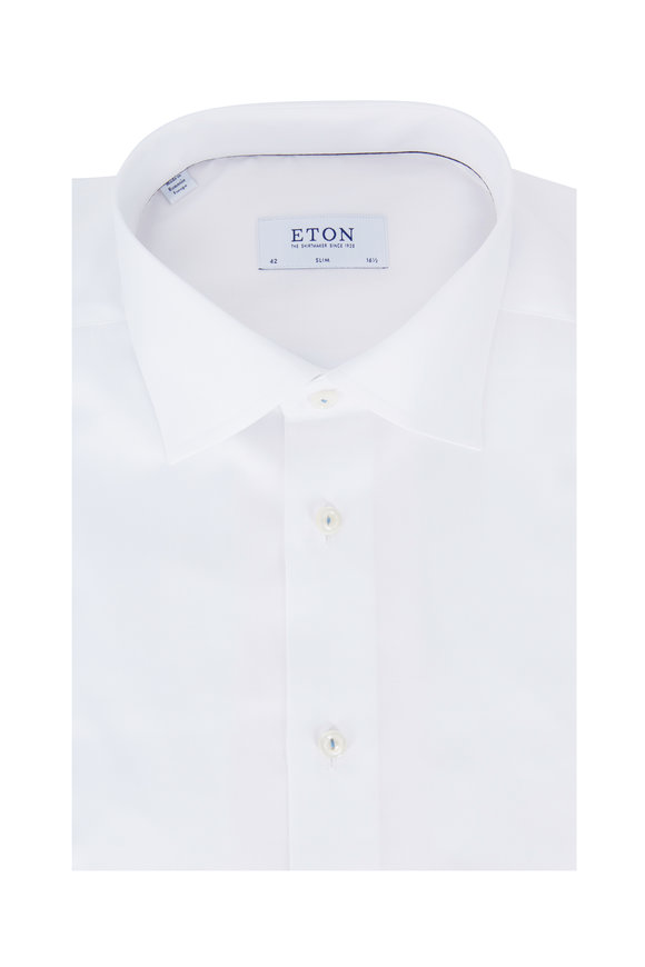 Eton Solid White Slim Fit Dress Shirt