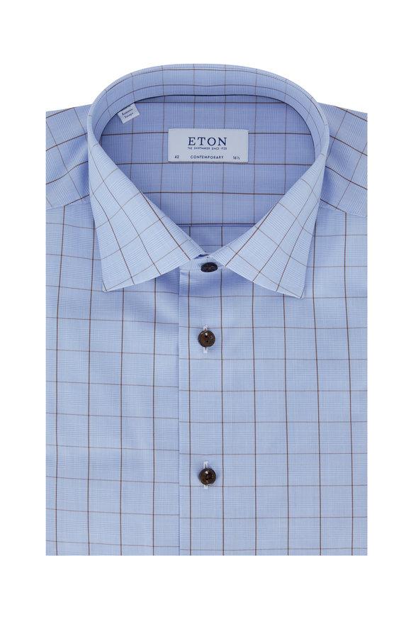 Eton Light Blue Windowpane Contemporary Fit Dress Shirt