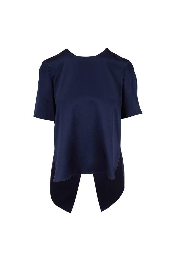 Adam Lippes Navy Silk Cross Back Short Sleeve Blouse
