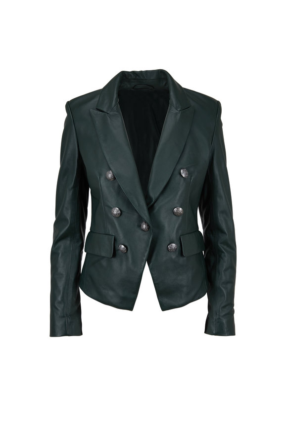 Veronica Beard Cooke Dark Green Leather Dickey Jacket