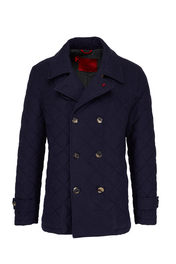 Isaia Navy Quilted Double Breasted Peacoat