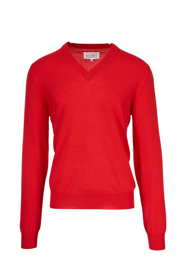 Maison Margiela Red V-Neck Elbow Patch Sweater