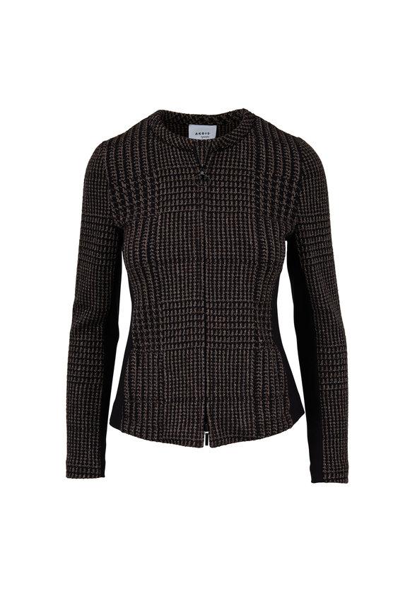 Akris Punto Black & Brown Lurex Houndstooth Jacket