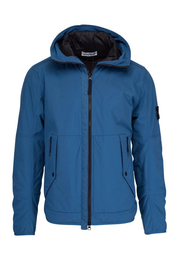 Stone Island Blue Hooded Soft Shell Jacket