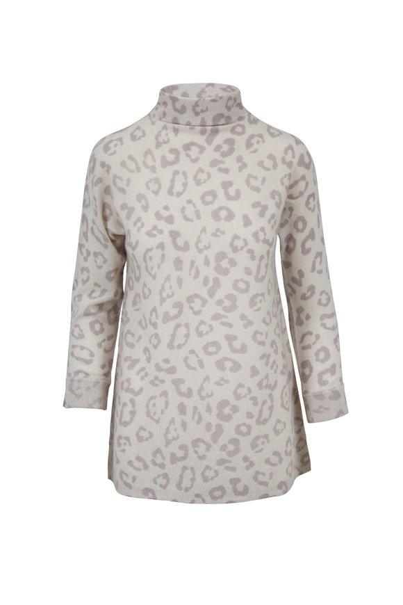 Kinross Birch Cashmere Leopard Print Funnel Neck Sweater