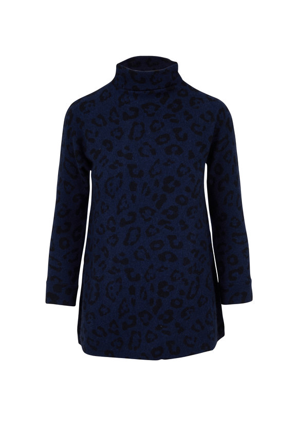 Kinross Inkwell Cashmere Leopard Print Funnel Neck Sweater