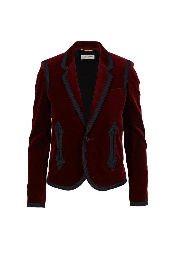 Saint Laurent Bordeaux Velvet Passementerie Trimmed Jacket