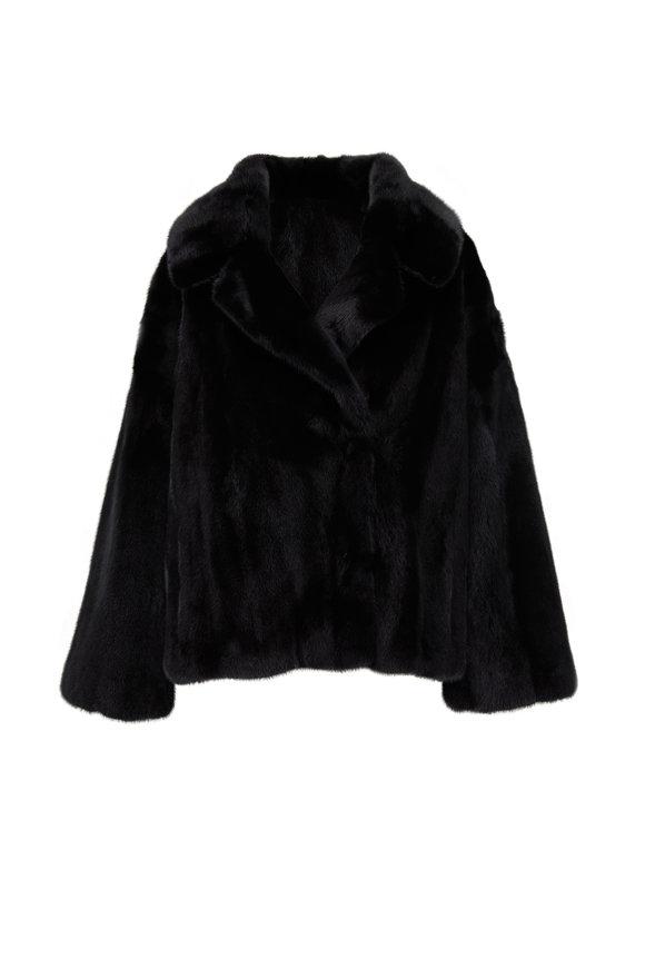 Oscar de la Renta Furs Black Mink Notch Collar Jacket