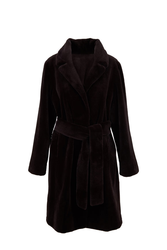 Oscar de la Renta Furs Espresso Sheared Mink Belted Coat
